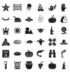 Autumn holiday icons set simple style vector