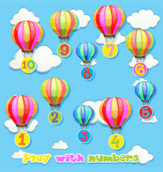 Balloons with numbers in sky vector