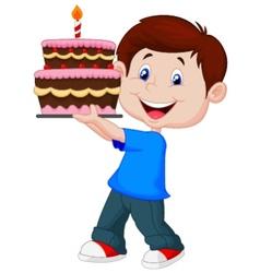 Boy cartoon with birthday cake vector image