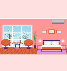 Bright bedroom interior with modern furniture and vector