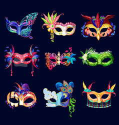 Colorful ornate carnival masks set vector