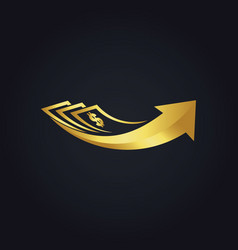 dollar investment arrow business gold logo vector image vector image