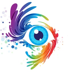 Eye art and splash eyelashes on white background vector image vector image