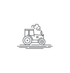 Farm tractor line icon outline of vector