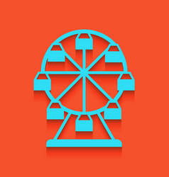 ferris wheel sign whitish icon on brick vector image vector image