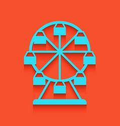 Ferris wheel sign whitish icon on brick vector