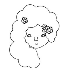 Figure woman face with flower in the hair icon vector