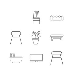 Furniture linear icon set simple outline icons vector