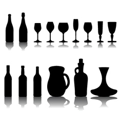 glasses and bottles 2 vector image vector image