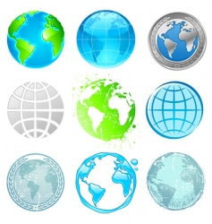 globe and earth set vector image vector image