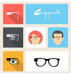 Google glasses icon set vector image vector image