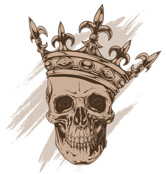 Graphic brown human skull with royal king crown vector