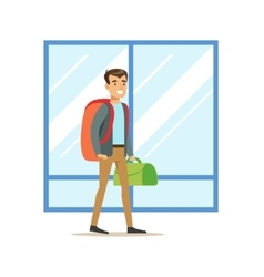 Guy arriving with big backpack and handbag part vector