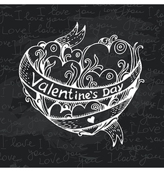 Hand drawn heart chalkboard design vector image