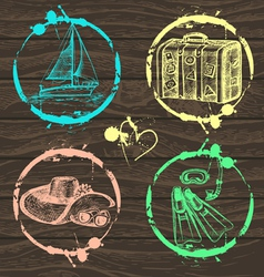Hand drawn travel set vector image