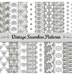 Hand drawn vintage seamless patterns vector