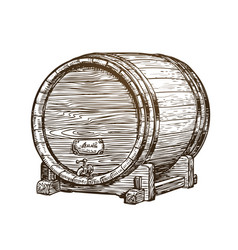 Hand drawn vintage wooden wine cask drink oak vector