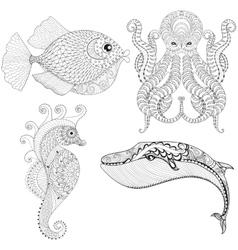 Hand drawn zentangle artistic Octopus Sea Horse vector image vector image