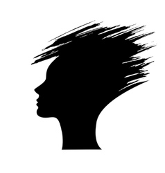 Head of the woman silhouette of the hair style vector