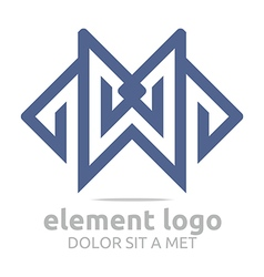 lettering element m design symbol icon vector image