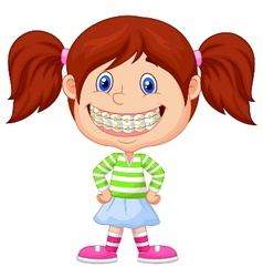 Little girl cartoon with brackets vector