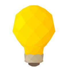 low poly light bulb icon cartoon style vector image