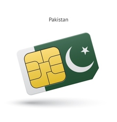 Pakistan mobile phone sim card with flag vector