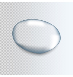 Realistic pure transparent water drop with shadow vector image vector image