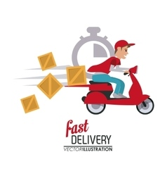 Red motorcyle and package icon delivery and vector