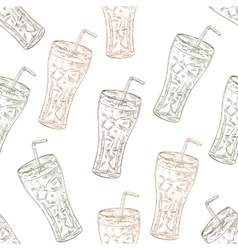 Seamless pattern scetch of three types cola vector image