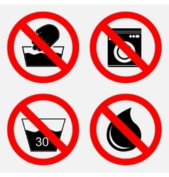 set of signs prohibiting washing the use of water vector image