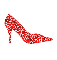 shoe with red hearts vector image vector image