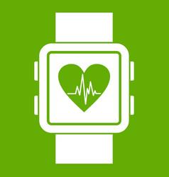 smartwatch icon green vector image
