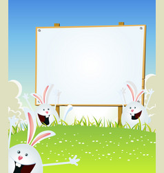 spring easter bunnies message on wood sign vector image