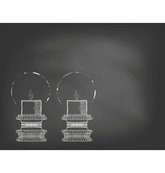 Two highly ornamental candles on blackboard vector