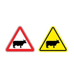 Warning sign attention cow hazard yellow sign vector