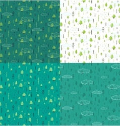 Wild Forest Hand Drawn Seamless Pattern Background vector image vector image