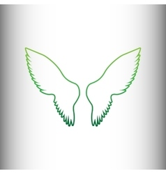 Wings sign green gradient icon vector
