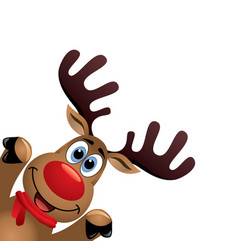xmas drawing of funny red nosed reindeer vector image