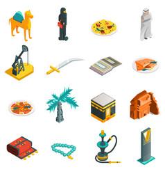 Saudi Arabia Isometric Touristic Icons Set vector image