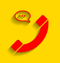 Phone with speech bubble sign  red icon vector