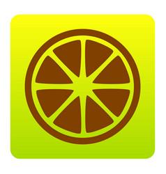 fruits lemon sign brown icon at green vector image