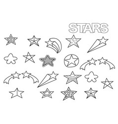 Hand drawn stars set coloring book page vector
