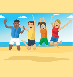 group of friends together jumping on the beach vector image