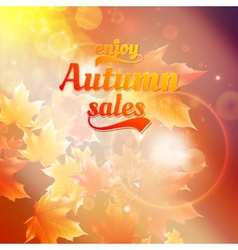 Autumn sale realistic leaves typography poster vector