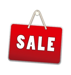 Sale signs hanging with rope isolated on white vector