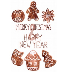 Gingerbread cookies and christmas decoration vector