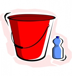 Bucket with bottle vector