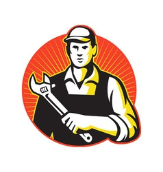 Mechanic repairman with adjustable wrench retro vector