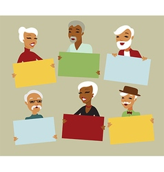 Seniors holding blank cards vector